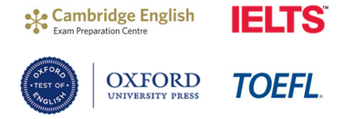 Cambridge English Preparation Centre, IELTS, Oxford test of english & ETS TOEFL logos